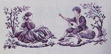 broderie point de croix  toile de jouy le musicien et la bergère violet