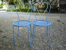 2 chaises jardin fer ancienne peinture bicolore