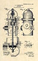 Official Fire Hydrant US Patent Art Print - Vintage Firefighter Antique 188