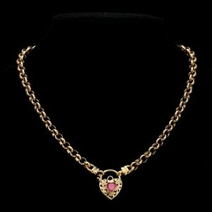 18K Yellow Gold GL Women's Solid Med Belcher Necklace & Ruby Red Heart 55cm