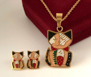 Cat Jewellery Set Stainless Steel Enamel Earrings Chain Pendant 24K Gold Plated
