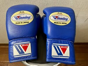 Winning Used boxing  Fight Gloves 8OZ Blue MS-200 Made In Japan