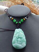 Certified Green Natural A Jade jadeite Pendant Landscape painting 山水画 518919