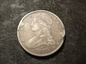 1839-O  VF XF Detail Reeded Edge Capped Bust Half Dollar Crimped Rim ABQ