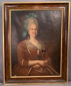 LG Antique 18thC LADY ARISTOCRAT PORTRAIT w/ JEWELRY Old COURT PAINTING Frame