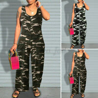 Womens Sleeveless Camouflage Jumpsuits Casual Loose Wide Leg Playsuits Plus Size