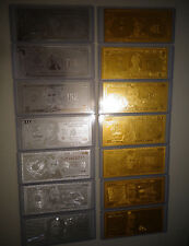 14 GOLD + SILVER DOLLAR BILL SET, $1-2-5-10-20-50-100 +EACH IN PVC BILL HOLDER.