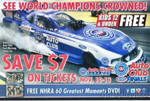 2011 Robert Hight AAA Ford Mustang Funny Car Pomona Finals NHRA Handout