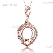 Natural Diamonds Solid 10K Rose Gold Semi Mount Oval 8x10mm Fine Wedding Pendant