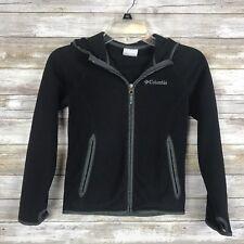 Columbia Youth Jacket Sz S L/S Black Gray Fleece Hooded Full Zip Pockets