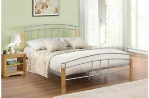 NEW 4FT Modern Design Steel Bed Frame With Fitting Rubberwood Bed Posts