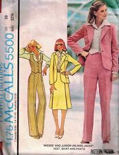 McCall's 5500 Misses & Jr Unlined Jacket Vest Skirt & Pants Size 10 Bust 32.5