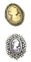 Cameo Brooch Pin Gold Silver Crystal Diamante Vintage Victorian Style Women UK