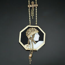 ERTE Aventurine 1979 Black Onyx Diamond Gold Cameo Pendant Necklace
