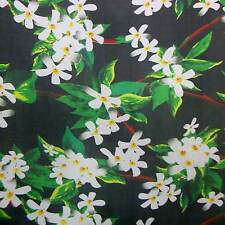 PURE SILK CHIFFON DRESSES FABRIC WHITE FLOWERSPRINT BY THE YARD npc 36020 +bn