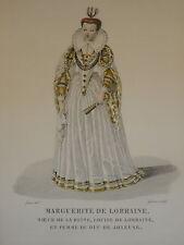 Gravure PORTRAIT COULEUR COSTUME FEMME MARGUERITE LORRAINE RENAISSANCE MODE 1830