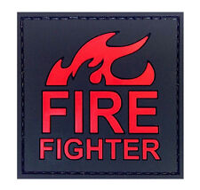 PVC Morale Patch Fire Fighter on Fire 3D Badge Hook #60 Airsoft Paintball