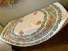 Vintage Christmas Round Fabric Tablecloth Holly, Birds & Bells - Fringed
