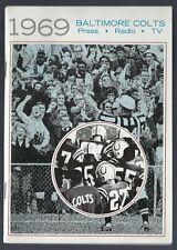 VINTAGE 1969 NFL BALTIMORE COLTS FOOTBALL MEDIA PRESS RADIO GUIDE -JOHNNY UNITAS