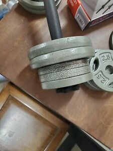"""Pair of adjustable dumbbell handles w assorted 1"""" weight plates TOTAL 35 lbs"""