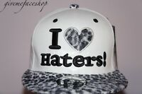 I love haters leopard snapback cap, flat peak fitted baseball hip hop hats bling