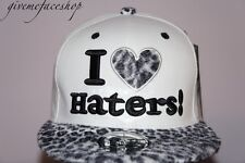 I love haters leopard snapback cap, flat peak fitted baseball hip hop hats bling