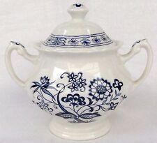 "Meakin J & G Blue Nordic Classic White Sugar Bowl & Lid 3 3/4""  Mint"