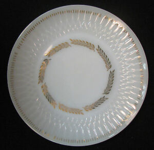 Federal Glass Company USA, ca. 1940's dinner plates. White with gold leaves