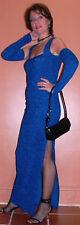 RUN WAY ROYAL BLUE  CUT OFF BACK DRESS S-M $1250 FRANCE