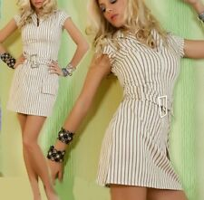 Sexy Miss Ladies Girly Stripes Stretch Dress Zipper Mini Dress Belt 34 New