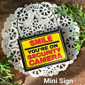 DECO Mini Sign Smile Security Camera Door Hanger Caution Surveillance Gag Gift