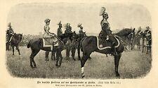 Deutsche Kaiserin zu Pferde Parade * Holzstich - Militärische Graphik von 1895