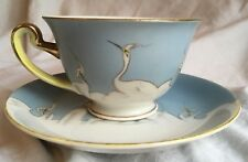Set Victory Shofu Crane Bird Cup Saucer White Blue Sky Hand Painted China Japan