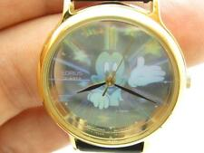 Pre-Owned Lorus Mickey Mouse Hologram Gold Tone Leather Strap Watch New Battery