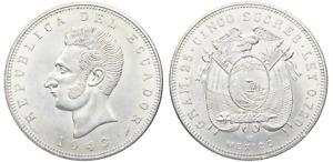 Ecuador- 5 Sucres 1943. México. SC-/UNC-. Brillo original. Plata 25 g.