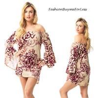 BOHO Hippie Gypsy Burgundy Scroll Bell Sleeve Haute FLEECE Sweater Tunic Top