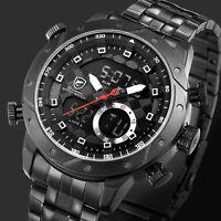 SHARK Men's LCD Analog Dual Time Watch Black Steel Band Digital Date Day Quartz