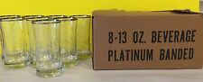 Federal Glassware Platinum Band 13oz Glasses Etched Initial S Gift