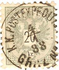 AUSTRIA Sc# 42, 20Kr. Lt. Green,. VF-Used, Socked on the Nose Military Postmark