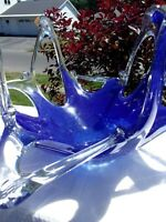 Krosno Poland ? Art / Stretch Glass Cobalt Blue Bowl