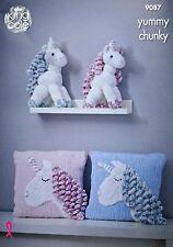 KNITTING PATTERN Soft Toys Unicorn Toy & Cushion Yummy Chunky King Cole 9087