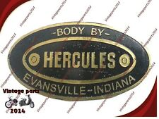 New Etched Brass Data Plate Hercules Body Builders Evansville Indian