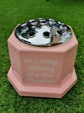 Baby Pink Memorial Grave Pot In Loving Memory of a dear DAUGHTER