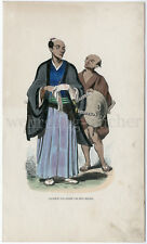 C 1844, Japanese nobleman with his Servant, Orig. handcoloured woodcut.