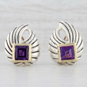 7.25ctw Amethyst Clip-On Earrings 14k Gold Sterling Silver Statement Drops