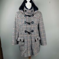 Tommy Hilfiger Houndstooth Plaid Hooded Duffle Coat Toggle Wool L