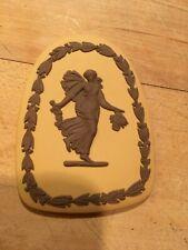 Wedgwood Jasperware RARE Brown on Yellow Dancing Hours Medallion Plaque NICE!8av