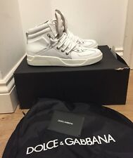 Dolce and Gabbana Off- White Raised Logo Hi Top Trainers UK 7/EU 41 £595