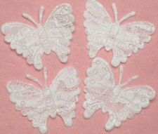 50 White Embossed Lace Butterfly Appliques ~ Trim A006