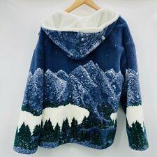 Country Woods Vintage Sherpa Hooded Jacket Fleece Mountain Trees Men's Size L